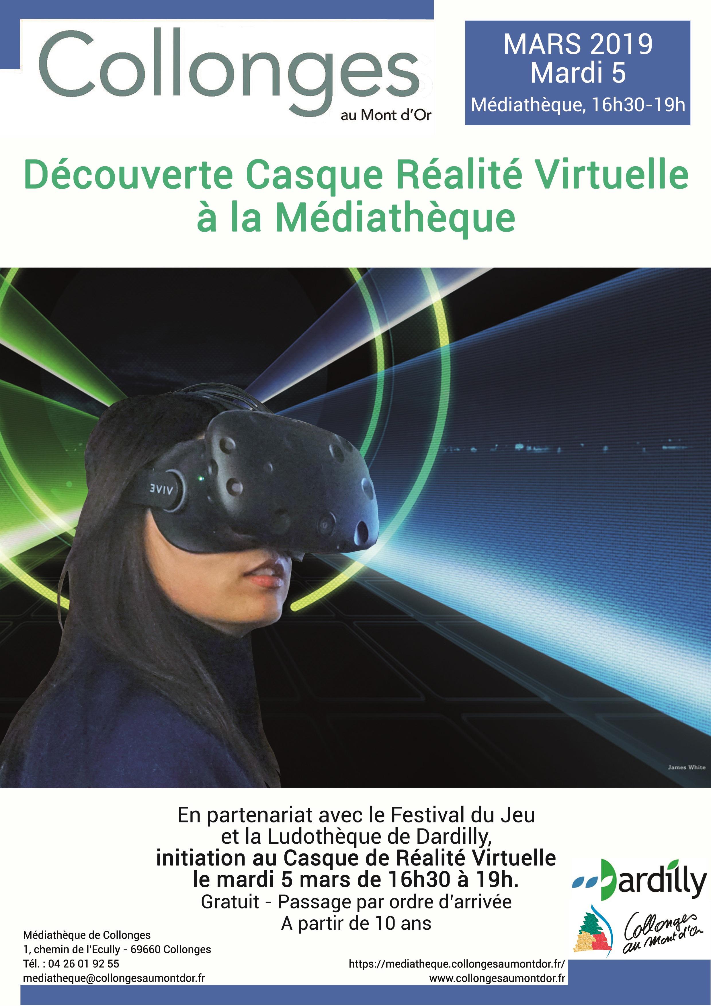 Affiche Casque Réalité Virtuelle Médiathèque